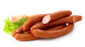 Delicious smoked sausages Royalty Free Stock Image