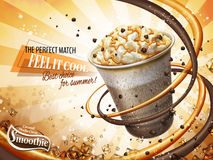Delicious smoothie ads. Caramel mocha cocoa smoothie ads, freeze iced drink with cream, chocolate beans and caramel topping, 3d illustration Stock Photography