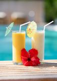 Delicious smoothies on a tropical resort Royalty Free Stock Image