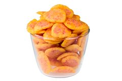 Delicious snack chips isolated. Delicious snack chips in bowl isolated on white Stock Images