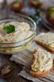 Delicious snack from crostini with chicken pate or paste and tomatoes Royalty Free Stock Images