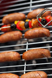 Delicious snacks on the grill Royalty Free Stock Images