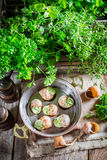 Delicious snails before cooking Royalty Free Stock Photos