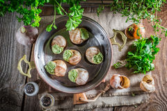 Delicious snails before roasting Stock Photography