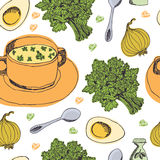 Delicious soup background. Cream soup with egg and parsley. Hand drawing Royalty Free Stock Photos