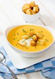 Delicious soup and crutons Royalty Free Stock Photography