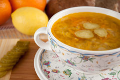 A delicious soup made from pickled cucumbers Stock Images