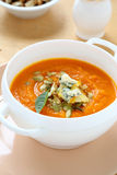 Delicious soup with pumpkin and blue cheese Stock Photography