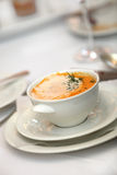 Delicious soup in the restaurant - Copy Space Stock Image