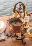 Delicious soup with shrimps, mussels, fish fillet. National cuisine of Montenegro Stock Photos