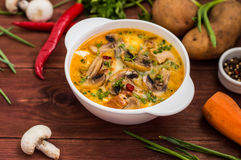 Delicious soup with smoked chicken, mushrooms, eggs and cream. Wooden background stock image