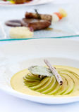 Delicious soups, Gourmet food Royalty Free Stock Image