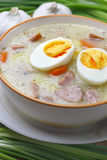 Delicious sour soup with egg. Stock Photography