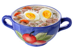 Delicious sour soup with egg Stock Photos