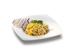 Delicious spaghetti with bacon and cream sauce Royalty Free Stock Image