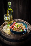 Delicious spaghetti Carborana with becon, parsley and eggs Stock Images