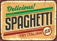 Delicious spaghetti meal vintage sign board Stock Photo
