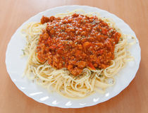 Delicious spaghetti with meat and tomato Stock Photography