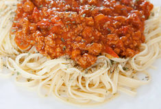 Delicious spaghetti with meat and tomato Stock Image
