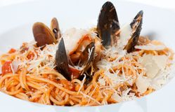 Delicious spaghetti with seafood Royalty Free Stock Image