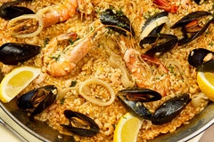 Delicious spanish paella Stock Images