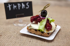 Delicious Spanish tapas, with a rustic mozzarella and dried tomato with olive. TAPAS poster . Stock Photo