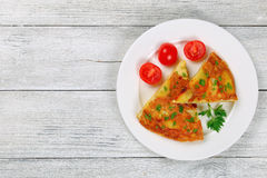 Delicious spanish Tortilla on white plate Royalty Free Stock Photo