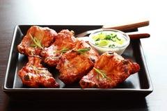 Delicious spare ribs with sour cream Stock Photos
