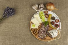 Delicious specialty food, salami with walnuts. Refreshments for important guests. Traditional specialty food. Stock Image