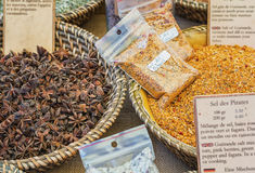 Delicious spices for sale on the market in Vallon Pont d`Arc. Stock Images