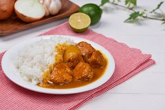 Delicious and spicy Chicken curry roast from Indian cuisine. Delicious and spicy Chicken curry roast from Indian cuisine stock photography
