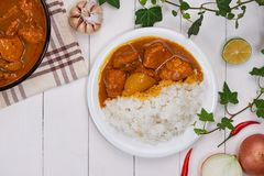 Delicious and spicy Chicken curry roast from Indian cuisine.  royalty free stock images