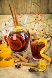 Delicious spicy hot mulled red wine Royalty Free Stock Photo