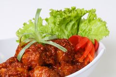 Spicy meatball with vegetables royalty free stock photo