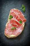 Delicious spicy salami appetizer Royalty Free Stock Photos