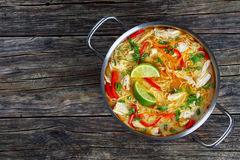 Delicious and spicy thai chicken noodle soup stock image