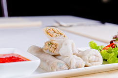 Delicious Spring Roll Recipe with Sweet Sauce Stock Image