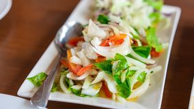 Delicious Squid Spicy Salad Dish. Yummy Lunch Meal With Steamed Rice royalty free stock images