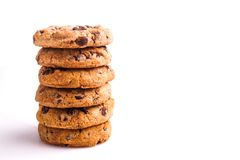 Delicious stack of Chocolate Chip Cookies Stock Photography