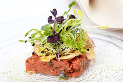 Delicious starter, veal tenderloin fillet tartar and garden salad Royalty Free Stock Photos