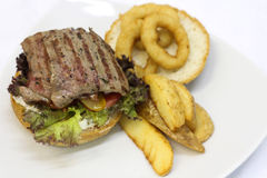 Delicious steak burger Royalty Free Stock Photography