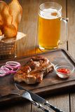 Delicious steak with chili sauce and chopped onion Stock Image
