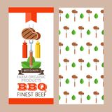 Barbecue, grill. Emblem, logo. Colorful vector illustration in f. Delicious steak on a fork with mustard and ketchup. Barbecue, grill. Flyer template. Natural Royalty Free Stock Photos