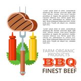 Barbecue, grill. Emblem, logo. Colorful vector illustration in f. Delicious steak on a fork with mustard and ketchup. Barbecue, grill. Vector colorful Royalty Free Stock Photo