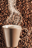 Delicious steaming hot coffee on beans 2 Royalty Free Stock Photography