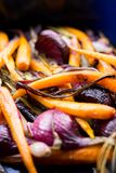 Stewed carrots and purple onion Royalty Free Stock Images