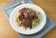 Delicious Stir Fried Bean Sprout with Pig Blood Curd stock images