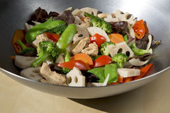 Delicious stir-fry food. Stir-fry food(chicken and mixed vegetables) in the wok Stock Images
