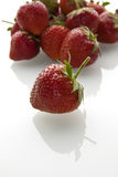 Delicious strawberries. On white bacground with reflection stock photo