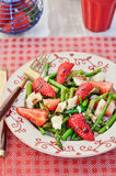 Delicious Strawberry Asparagus Salad, Close-up. Asparagus and Strawberry Salad with Parmesan Cheese Stock Photography